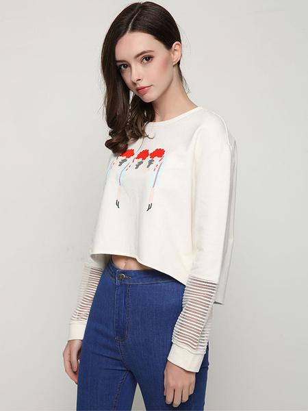 White Pullover Sweatshirt Round Neck Long Sleeve Printed Short Sweatshirt