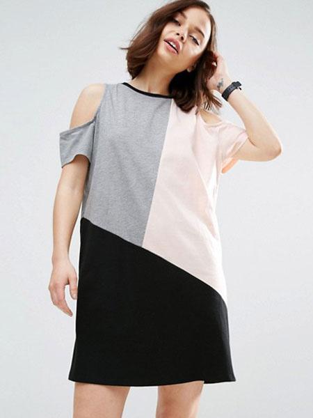 Women's Shift Dress Multicolor Short Sleeve Cold Shoulder Cotton Dress фото