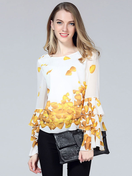 Women's Printed Blouse Flared Tiered Sleeve Top фото