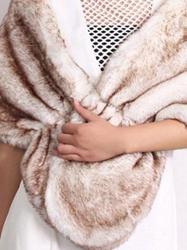 Faux Fur Stole Wedding Shawl Light Brown Fluffy Bridal Wrap Shrug Milanoo