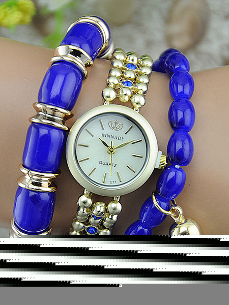 Boho Fashion Watch Women's Round Dial Gems Jeweled Tassels Alloy Band Analog Quartz Watch