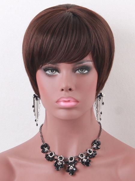 Human Hair Wigs Short Straight Women's Side Swept Bangs Deep Brown Wigs