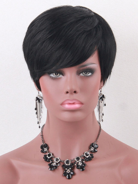 Human Hair Wigs Short Straight Side Parting Women's Black Wigs