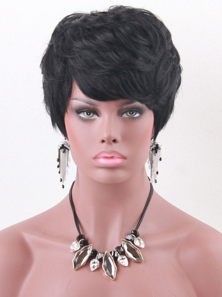 Human Hair Wigs Women's Black Short Tousled Wigs