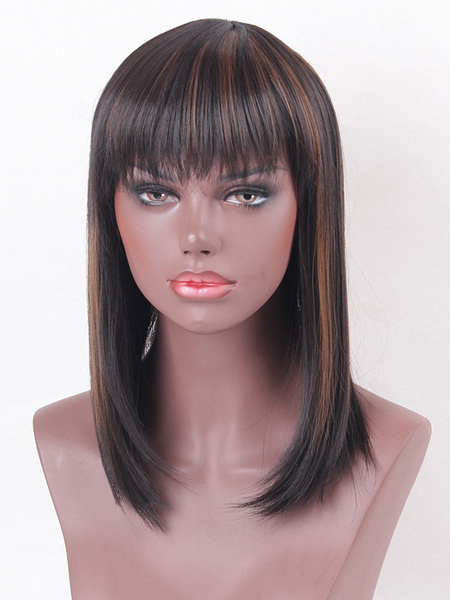Tan Hair Wigs Women's Blunt Fringe Layered Straight Shoulder Length Synthetic Wigs