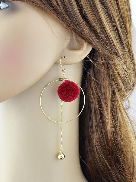 Chic Dangle Earrings Women's Grommet Chain Fringe Pom Poms Alloy Hook Earrings