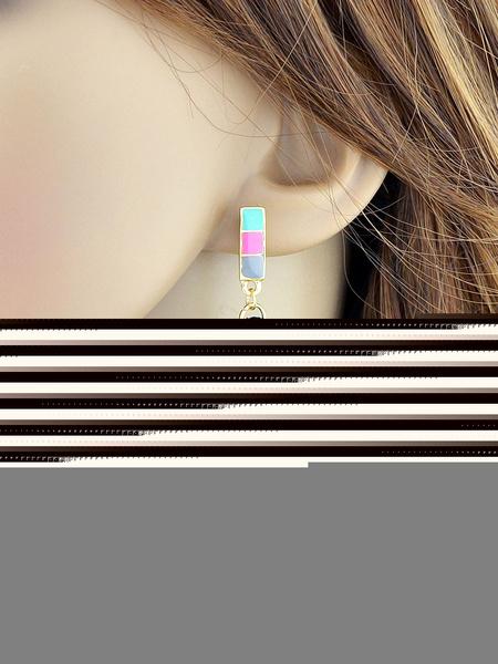 Green Tassel Earrings Women's Pierced Pendant Dangle Earrings фото