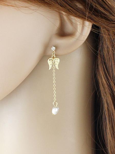 Golden Dangle Earrings Women's Jeweled Grommet Birds Chic Pierced Earrings фото