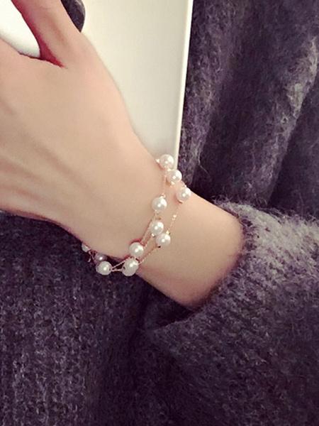 Women's Charm Bracelet Pearls Beaded Chain Detail Alloy Chic Bracelet