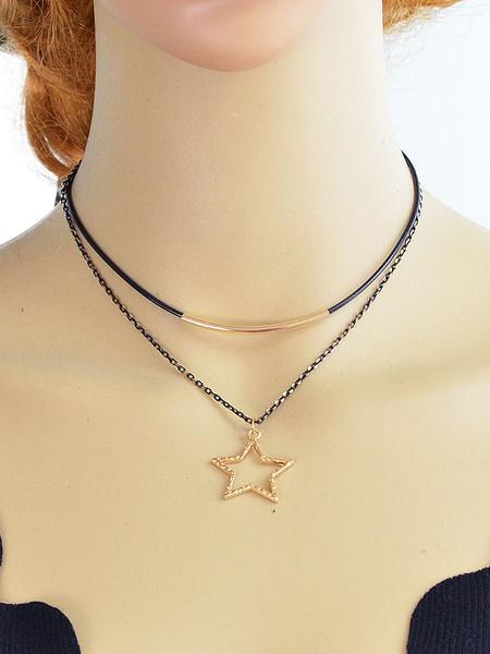 Collana ora in lega d'acciaio chic & moderna stelle con decori in metallo collana donna