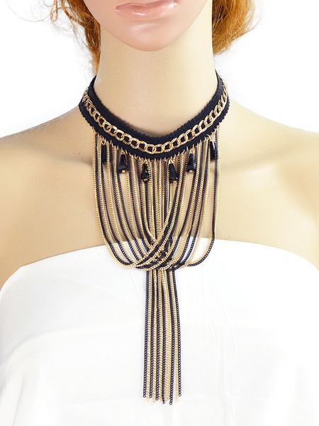 Women's Statement Necklace Brown Fringe Short Necklace