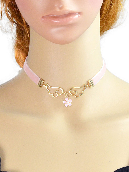 Pink Choker Necklace Women's Flower Wings Shape Short Necklace