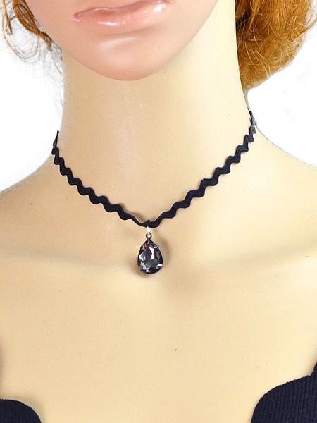 Black Pendant Necklace Women's Rhinestones Choker Necklace