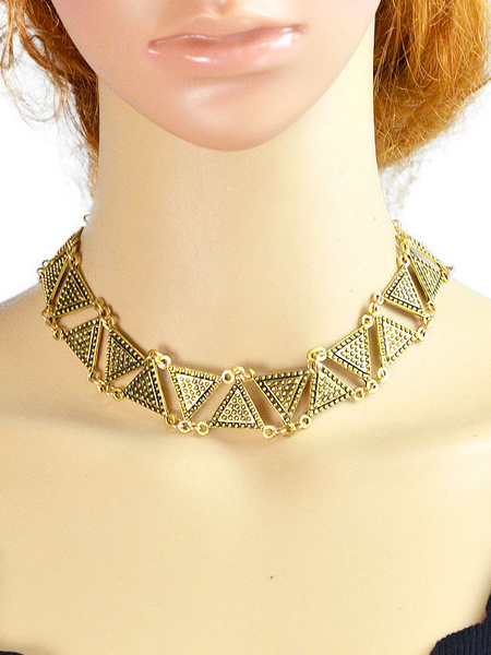 Gold Choker Necklace Chic Triangle Shape Short Necklace For Women