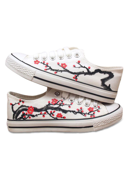 Women's Flat Shoes Plus Size White Round Toe Lace Up Plum Blossom Printed Canvas Sneakers