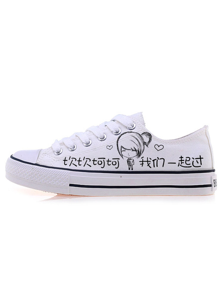 White Canvas Shoes Women's Round Toe Lace Up Flat Casual Shoes