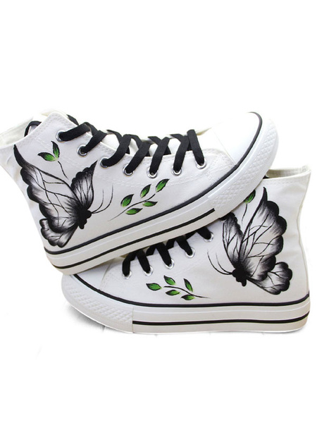 White Canvas Shoes Round Toe Lace Up Butterfly Printed High Top Flat Shoes фото