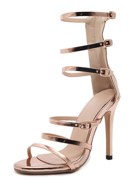 Women's Gladiator Sandals High Heel Gold Open Toe Zip Up Stiletto Strappy Sandal Shoes