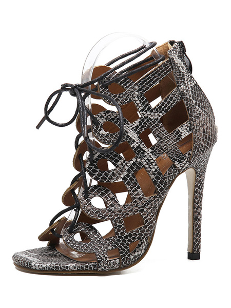 Black Gladiator Sandals High Heel Women's Open Toe Snake Printed Cut Out Lace Up Sandal Shoes