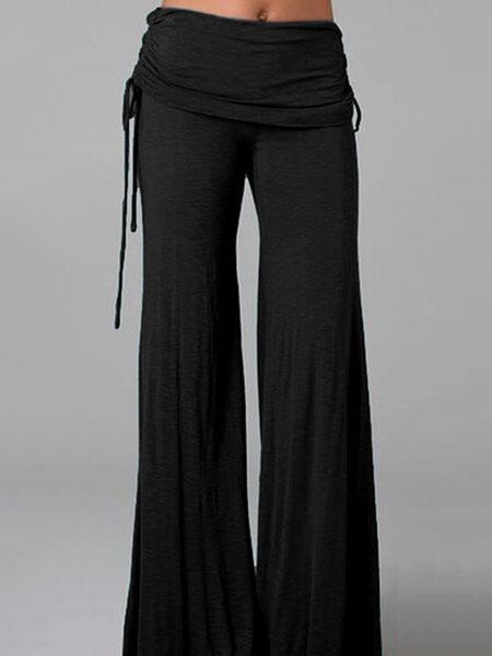 Women's Flare Pants Black High Waisted Culotte Pants фото