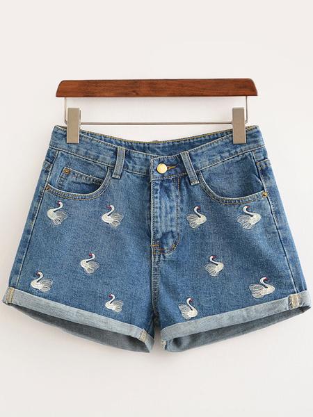 Blue Denim Shorts Swan Embroidered Women's Bottom фото