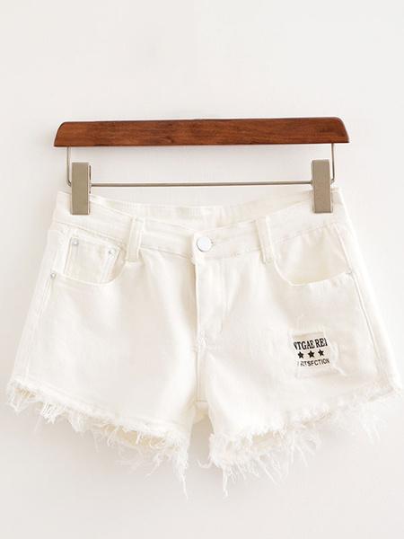Pantaloncini biandiere biancl con frange in denim