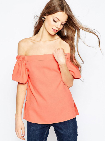 Women's Orange Blouse Off The Shoulder Short Sleeve Stylish Top фото