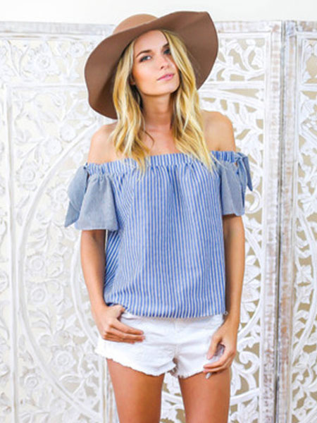 Women's Blue Blouse Striped Off The Shoulder Short Sleeve Casual Top фото