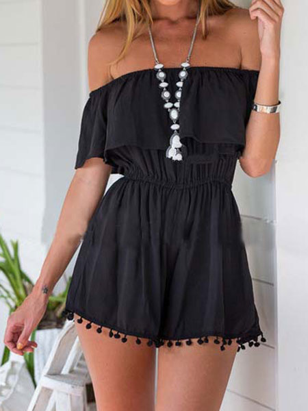 Women's Black Romper Ruffle Off The Shoulder Short Sleeve Slim Fit Playsuit