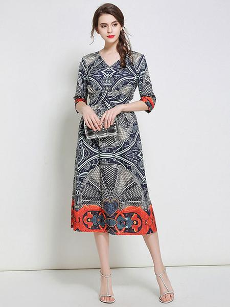 Blue Skater Dress Ethnic Style Printed Silk V Neck Half Sleeve Curved Hem Midi Dress фото