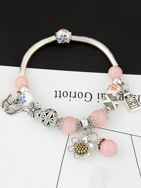 Women's Charm Bracelet Crystal Jeweled Flowers Embossed Sweet Bracelet