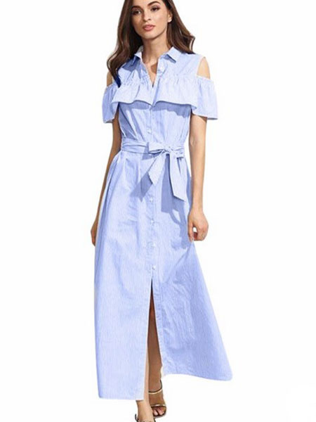 Women's Maxi Dress Cold Shoulder Light Blue Stripe Ruffle Sash Long Shirt Dress