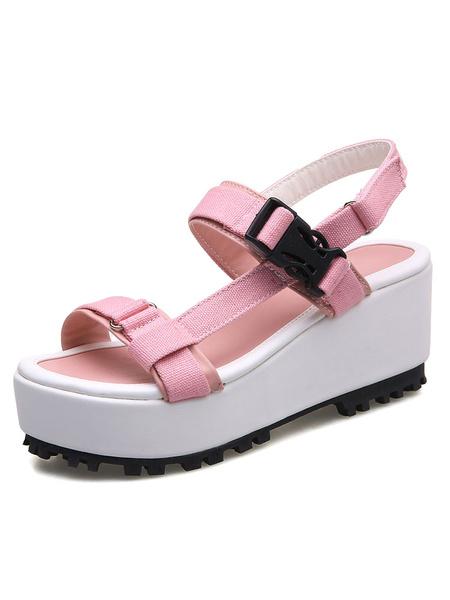 Pink Platform Sandals Canvas Open Toe Buckled Adjustable Strap High Heel Sandals