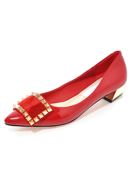 Pointed Toe Pumps Women's Red Slip On Rivets Patchwork Puppy Heel Shoes
