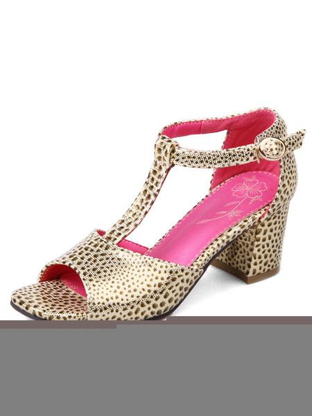 Gold Women's Sandals Open Toe T Strap Leopard Pattern Puppy Heel Sandal Shoes