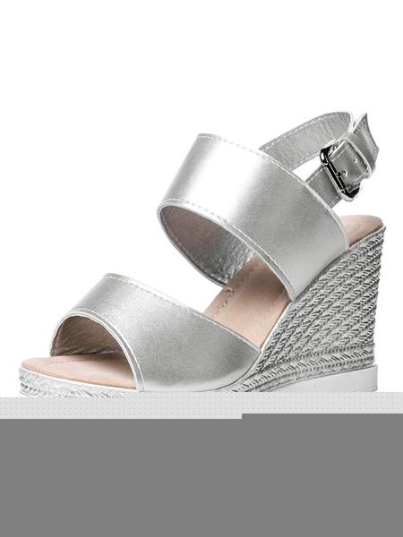 Women's Platform Sandals Silver Peep Toe Slingback Wedge High Heel Sandals