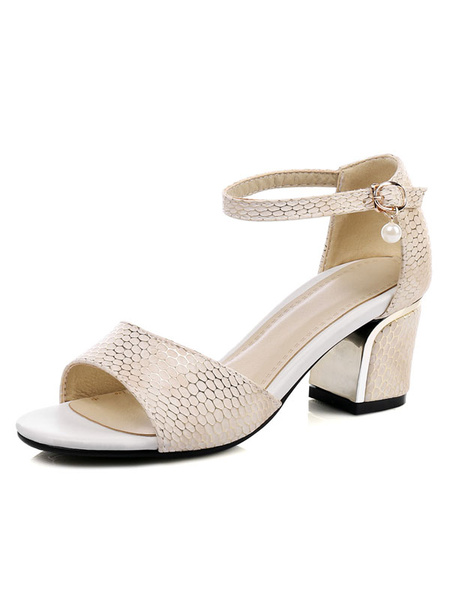 Mid Heel Sandals Women's Open Toe Snake Pattern Ankle Strap Pearl Decor Chunky Heel Sandal