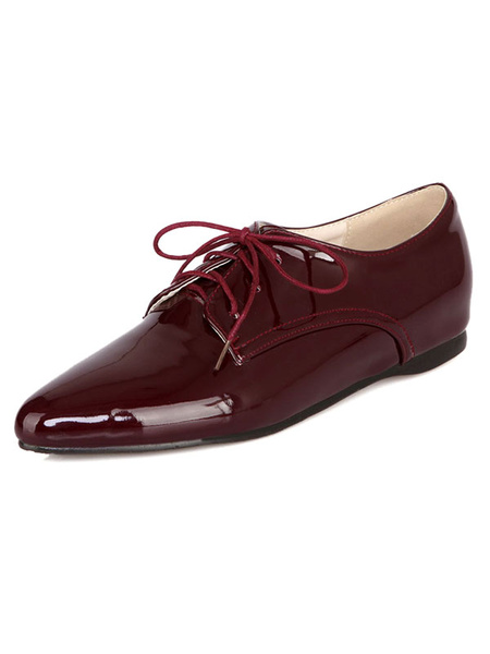 Burgundy Oxford Shoes Women's Pointed Toe Lace Up Stylish Flat Shoes