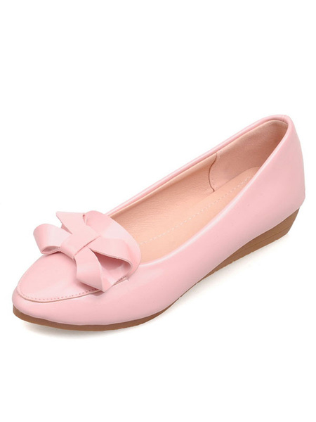Pink Ballet Flats Women's Round Toe Slip On Bow Decor Casual Flats