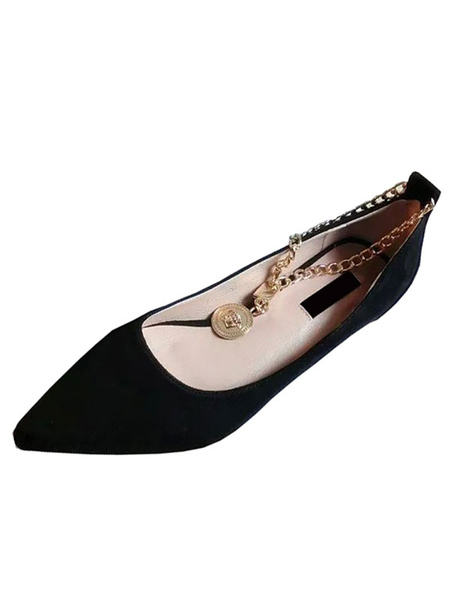 Women's Ballet Flats Suede Black Pointed Toe Chain Ankle Strap Metallic Detail Stylish Flats