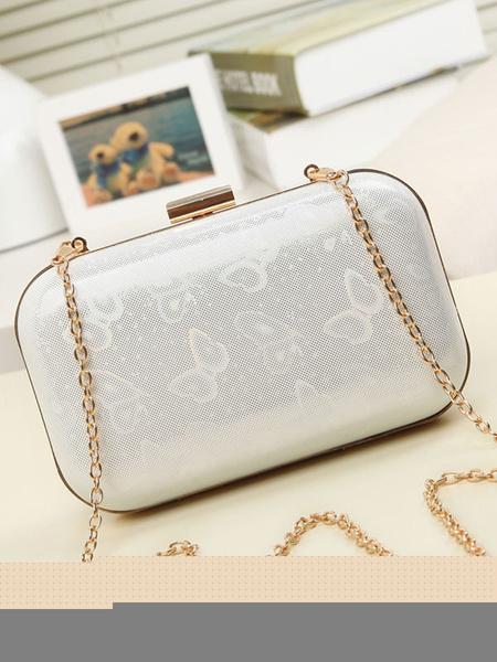 Boîte de sacs à bandoulière sangle chaîne féminines pochettes papillon argent