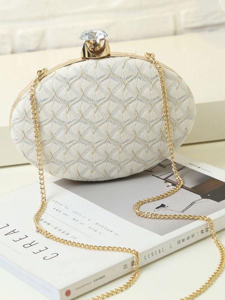 Blanc strass forme ovale de sacs-pochettes, soirée, sacs à main avec sangle de chaîne de mariage