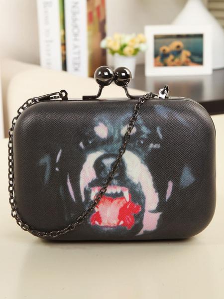 Sacs-pochettes féminin noir chien imprimé sacs à bandoulière
