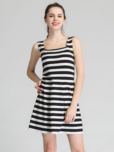 Black Skater Dress Square Neck Sleeveless Striped Slim Fit Flare Dress For Women