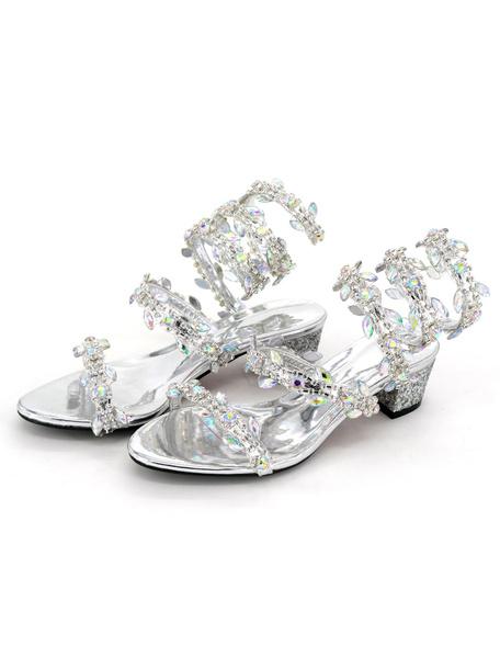 Women's Silver Sandals Glittering Rhinestones Sequins Strappy Tie Leg Chunky Mid Heel Sandals