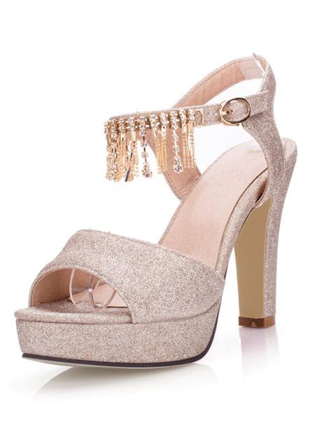 Gold Peep Toe Sandals Women's Lavender Shimmering Rhinestones Fringes Platform Chunky High Heel Sand