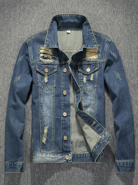 Blue Denim Jacket Men's Ripped Distressed Turndown Collar Long Sleeve Buttons Up Stylish Outerwear