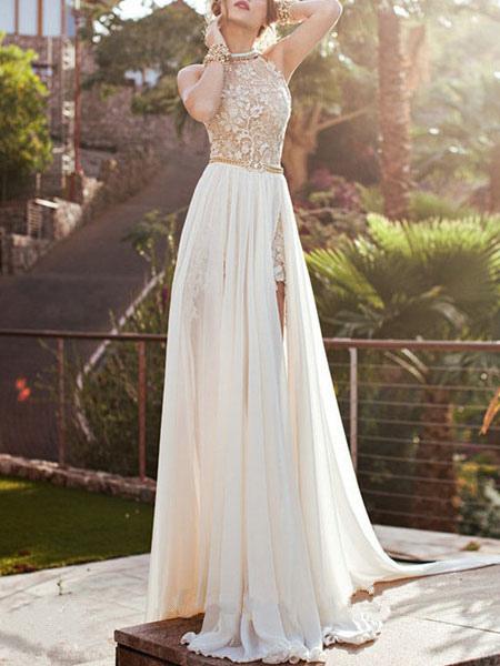 Image of Chiffon Maxi Dress Halter Neckline Sleeveless Backless High Slit Pleated Golden Long Dress