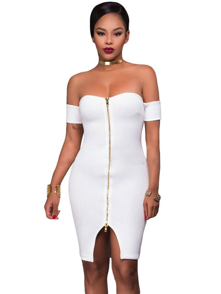 Club Wear Dress White Women's Off The Shoulder Zip Up Bodycon Dress