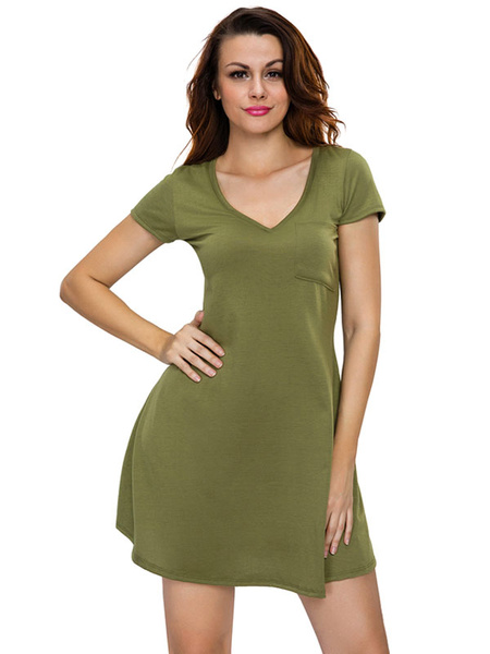 Olive T Shirt Dress Short Sleeve V Neck Women's Summer Short Dresses